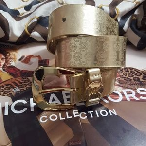 Michael Kors Signature Gold Belt